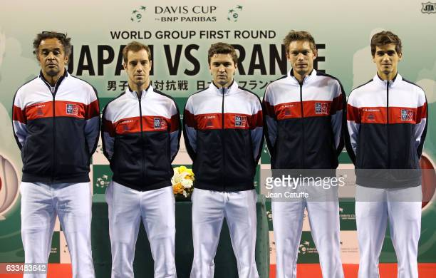 Captain of Team France Yannick Noah Richard Gasquet Gilles Simon Nicolas Mahut PierreHughes Herbert of France pose during the official draw ceremony...