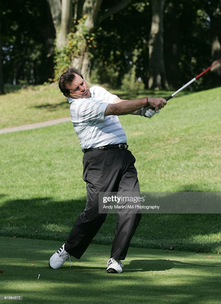 Captain of the 1980 Olympic Gold Medal USA Hockey Team Mike Eruzione tees off at the 7th Annual Companions in Courage Foundation Golf Classic at Deepdale Golf Club on October 5, 2009 in Manhasset, New York.