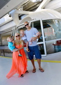 Captain of the Anaheim Ducks Ryan Getzlaf and his wife Paige Getzlaf and their children Gavin Getzlaf Ryder Getzlaf and Willa Getzlaf ride on the...