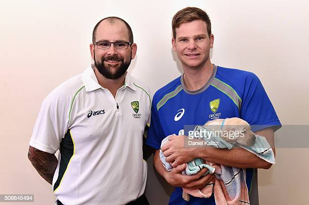 Captain of the Australian Blind Cricket Team Matthew Horsey and captain of the Australian Cricket Team Steven Smith of Australia pose for a photo...