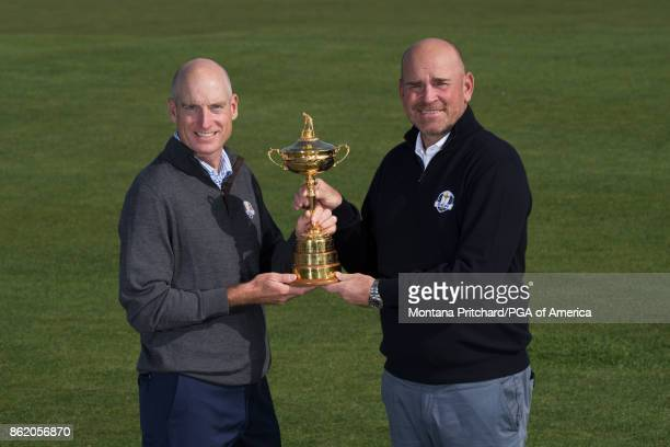 Captain of the European team Thomas Bjorn and Captain of the United States team Jim Furyk during the Captain's Photo Shoot during the Ryder Cup Year...