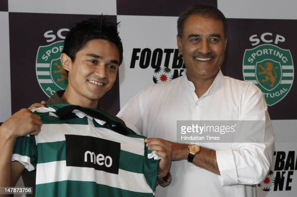 Captain of the Indian football team Sunil Chhetri and President of the All India Football Federation Praful Patel attend a press conference...