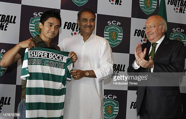Captain of the Indian football team Sunil Chhetri President of the All India Football Federation Praful Patel and Pedro MilHomens vice president of...