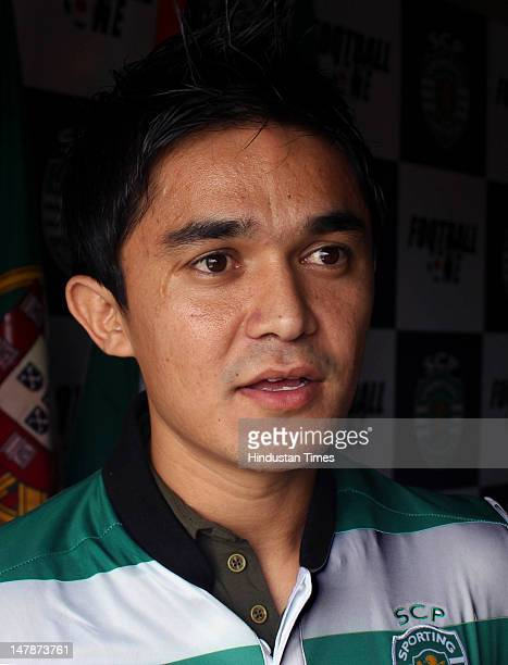 Captain of the Indian football team Sunil Chhetri speaks at a press conference announcing the on July 5 2012 in New Delhi India Sporting Clube de...
