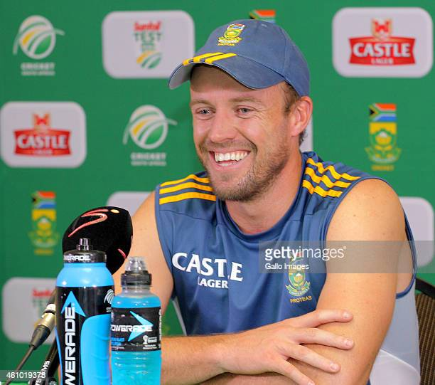Captain of the Proteas AB de Villiers speaks during a press conference during day 3 of the 3rd Test between South Africa and West Indies at Sahara...