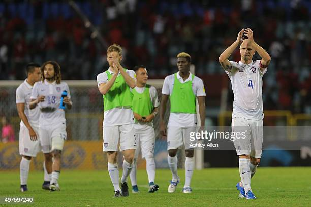 Captain of the USA national team Michael Bradley applauds the crowd during a World Cup Qualifier between Trinidad and Tobago and USA as part of the...
