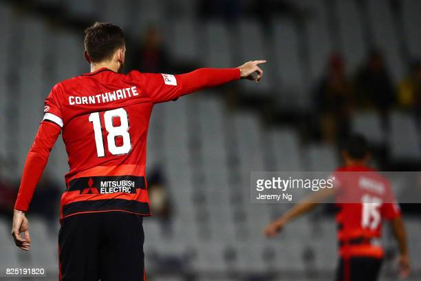 Captain of the Wanderers Robbie Cornthwaite instructs his players during the FFA Cup round of 32 match between the Western Sydney Wanderers and the...