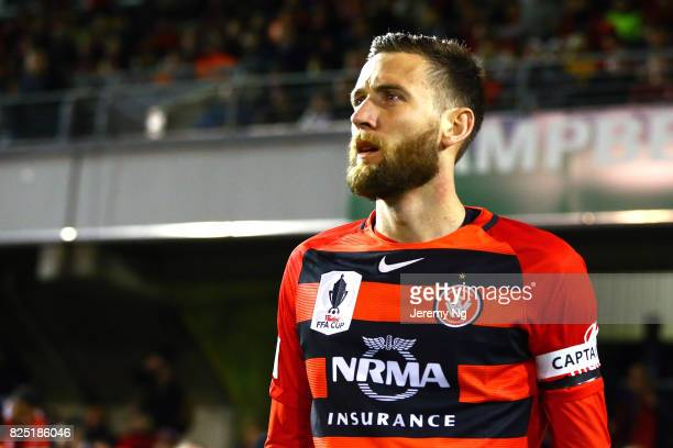 Captain of the Wanderers Robbie Cornthwaite walks out during the FFA Cup round of 32 match between the Western Sydney Wanderers and the Wellington...