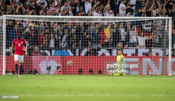 Captain Omar Elabdellaoui and Goal keeper Rune Jarstein of Norway during the FIFA 2018 World Cup Qualifier between Germany and Norway at MercedesBenz...