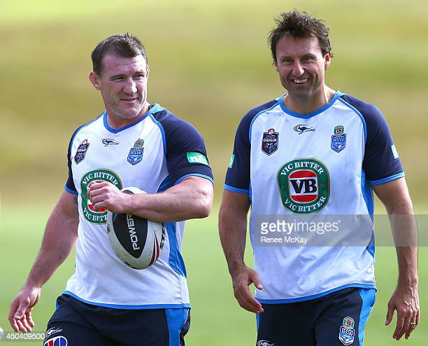 Captain Paul Gallen and Coach Laurie Daley leave the field during a New South Wales Blues State of Origin training session at Novotel Coffs Harbour...