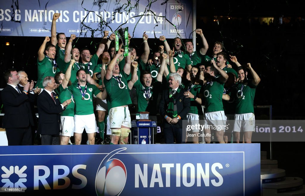 Captain Paul O'Connell, Brian O'Driscoll of Ireland and teammates celebrate with the Six Nations Championship trophy after the RBS Six Nations match between France and Ireland at the Stade de France on March 15, 2014 in Saint-Denis near Paris, France.