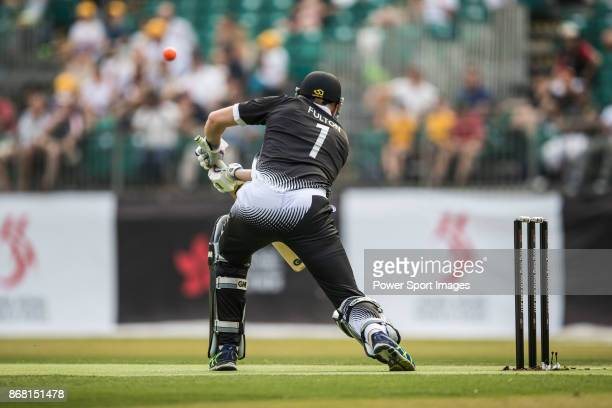 Captain Peter Fulton of New Zealand Kiwis hits a shot during Day 1 of Hong Kong Cricket World Sixes 2017 Group B match between New Zealand Kiwis vs...