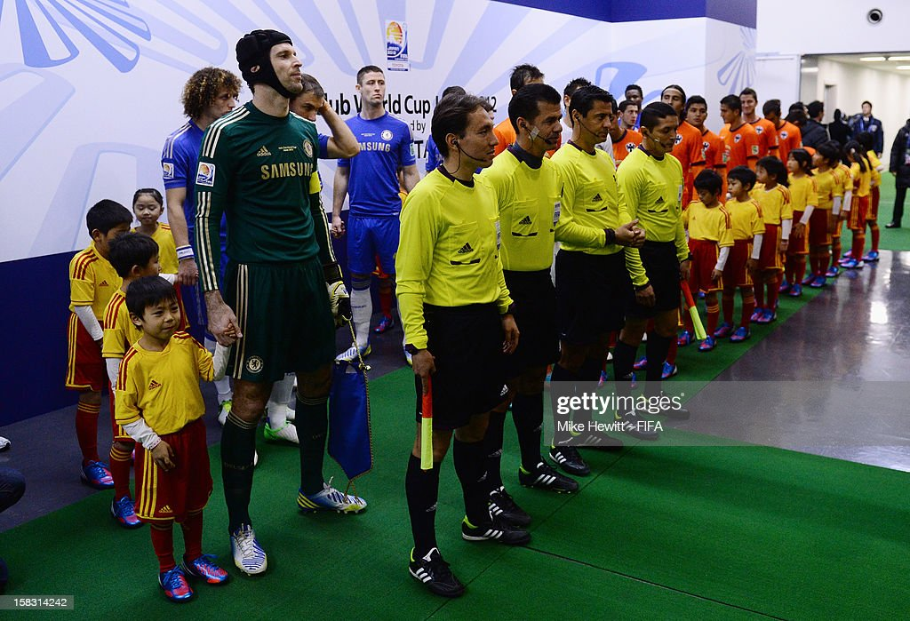 Captain Petr Cech of Chelsea lines up in the tunnel with his team mates during the FIFA Club World Cup Semi Final match between CF Monterrey and Chelsea at International Stadium Yokohama on December 13, 2012 in Yokohama, Japan.