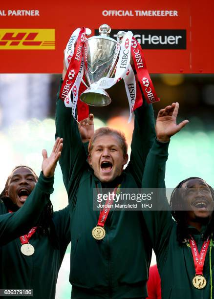 Captain Philip Snyman of South Africa lifts the trophy after they win the Sevens Series during day two of the HSBC London Sevens at Twickenham...