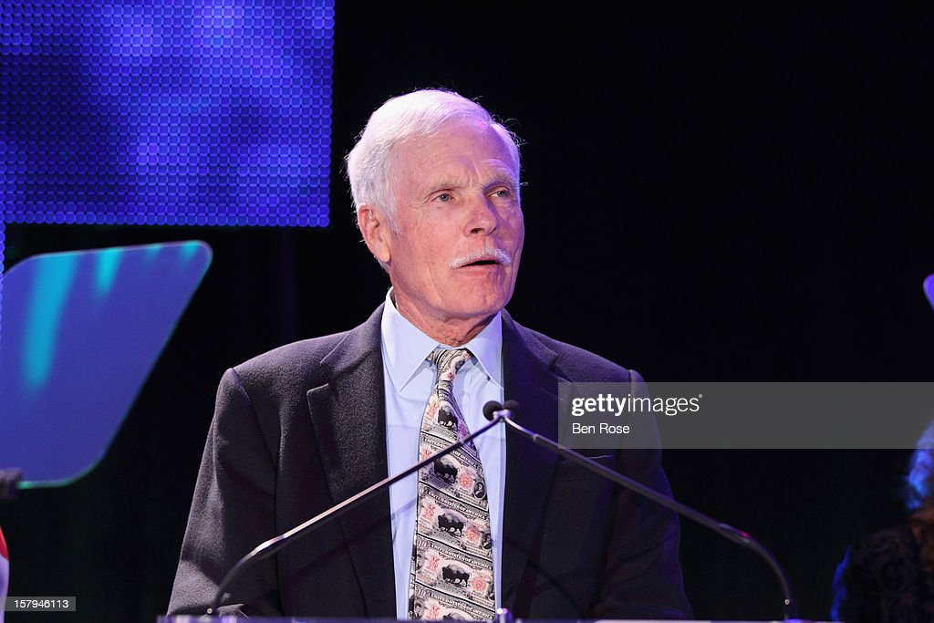Captain Planet Foundation Co-Founder <a gi-track='captionPersonalityLinkClicked' href=/galleries/search?phrase=Ted+Turner+-+Businessman&family=editorial&specificpeople=203000 ng-click='$event.stopPropagation()'>Ted Turner</a> speaks during the Captain Planet Foundation's benefit gala at Georgia Aquarium on December 7, 2012 in Atlanta, Georgia.