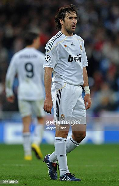 Captain Raul Gonzalez of Real Madrid looks on during the UEFA Champions League round of 16 second leg match between Real Madrid and Lyon at the...