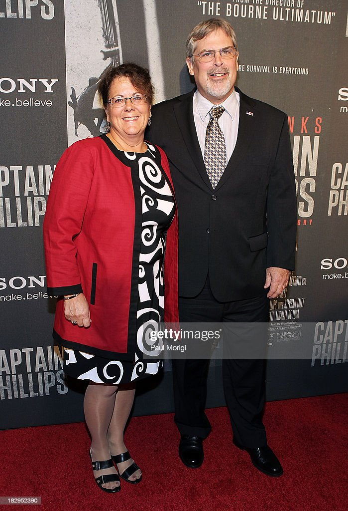 Captain Richard Phillips and Andrea Phillips arrive at the screening of 'Captain Phillips' at The Newseum on October 2, 2013 in Washington, DC.