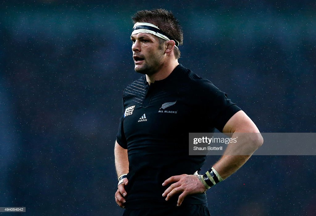 Captain <a gi-track='captionPersonalityLinkClicked' href=/galleries/search?phrase=Richie+McCaw&family=editorial&specificpeople=165235 ng-click='$event.stopPropagation()'>Richie McCaw</a> of the New Zealand All Blacks stands with his hands on his hips during the 2015 Rugby World Cup Semi Final match between South Africa and New Zealand at Twickenham Stadium on October 24, 2015 in London, United Kingdom.