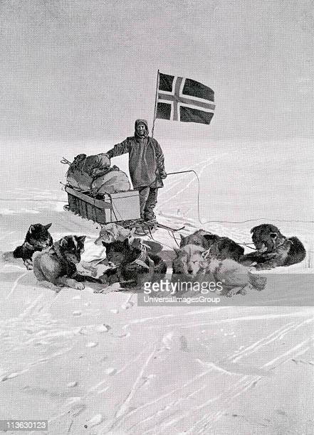 Captain Roald Engelbregt Gravning Amundsen 1872 to 1928 At the South pole under the Norwegian flag Norwegian explorer of the polar regions From the...