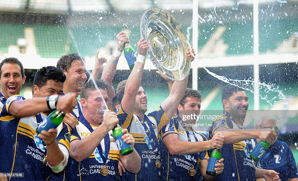 Captain Robbie Coleman of Brumbies lifts aloft the Trophy after they win the World Club 7's 2013 during the Cup Final match between ACT Brumbies and Auckland of the World Club 7's 2013 at Twickenham Stadium on August 18, 2013 in London, England.