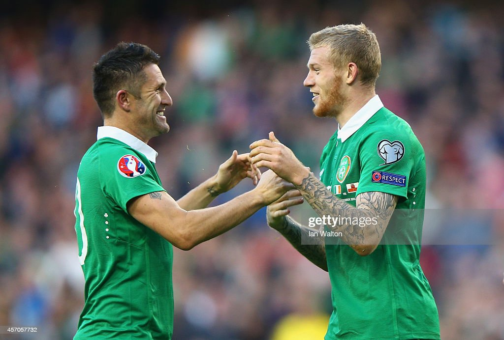 Captain <a gi-track='captionPersonalityLinkClicked' href=/galleries/search?phrase=Robbie+Keane&family=editorial&specificpeople=171824 ng-click='$event.stopPropagation()'>Robbie Keane</a> of Republic of Ireland congratulates <a gi-track='captionPersonalityLinkClicked' href=/galleries/search?phrase=James+McClean&family=editorial&specificpeople=3699424 ng-click='$event.stopPropagation()'>James McClean</a> of Republic of Ireland on scoring their fourth goal during the EURO 2016 Qualifier match between Republic of Ireland and Gibraltar at Aviva Stadium on October 11, 2014 in Dublin, Ireland.
