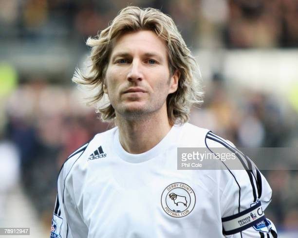 Captain Robbie Savage of Derby County looks on prior to the Barclays Premier League match between Derby County and Wigan Athletic at Pride Park on...
