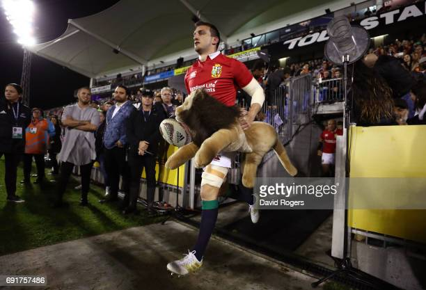 Captain Sam Warburton of the British Irish Lions leads out his team prior to kickoff during the 2017 British Irish Lions tour match between the New...