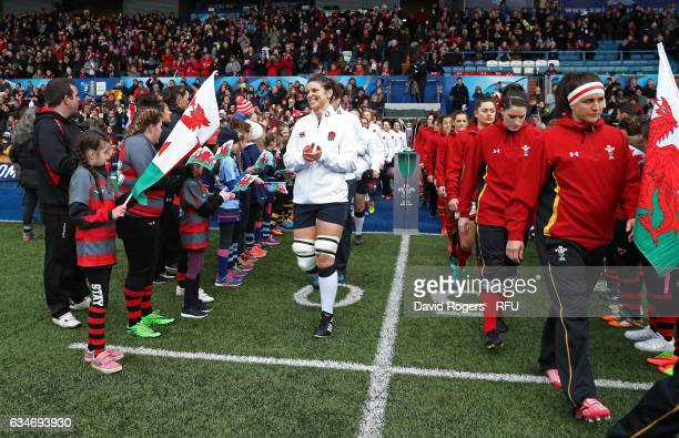 Captain Sarah Hunter of England leads her team out prior to kickoff during the Womens Six Nations match between Wales and England at the Cardiff Arms...