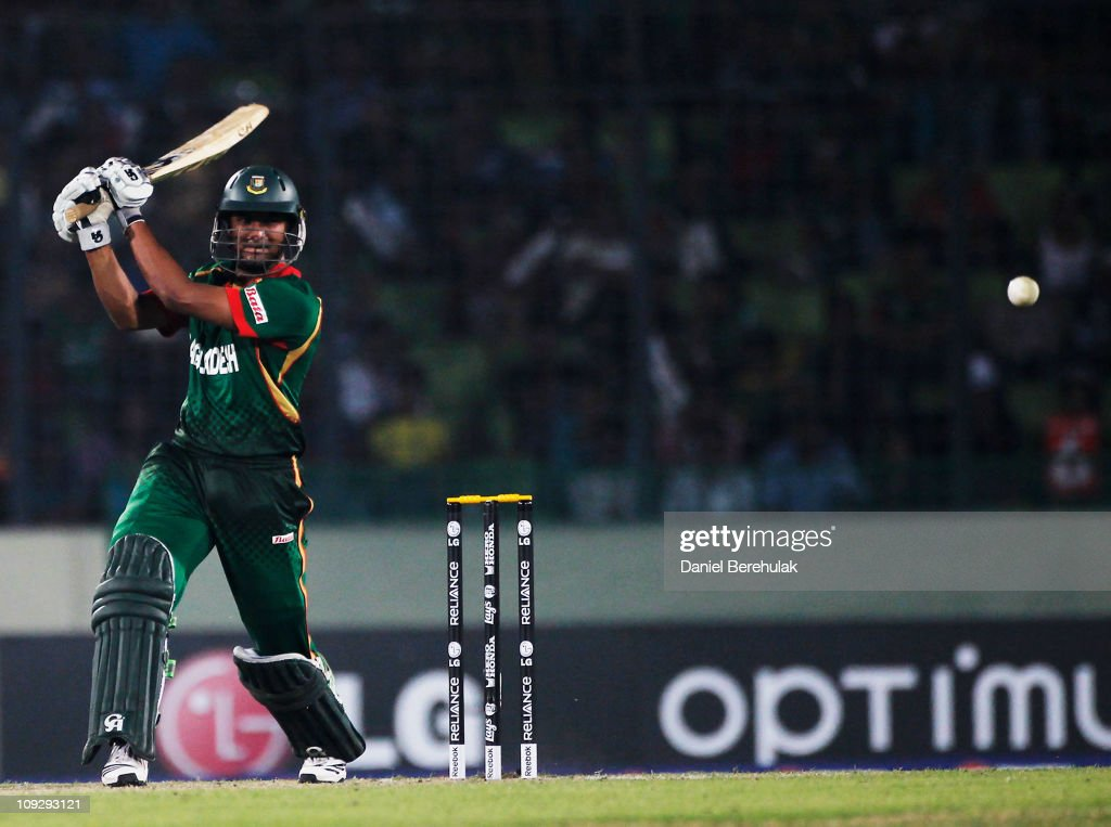 Captain <a gi-track='captionPersonalityLinkClicked' href=/galleries/search?phrase=Shakib+Al+Hasan&family=editorial&specificpeople=4145971 ng-click='$event.stopPropagation()'>Shakib Al Hasan</a> of Bangladesh bats during the opening game of the ICC Cricket World Cup between Bangladesh and India at the Shere-e-Bangla National Stadium on February 19, 2011 in Dhaka, Bangladesh.