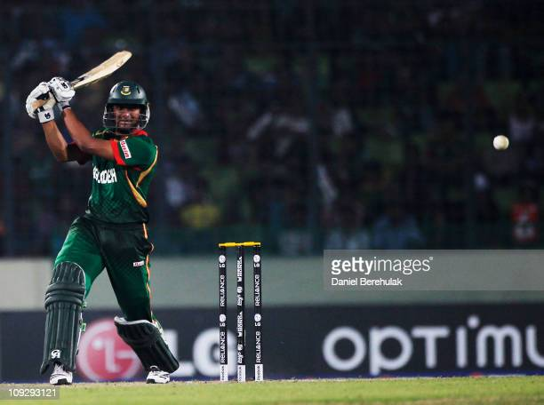 Captain Shakib Al Hasan of Bangladesh bats during the opening game of the ICC Cricket World Cup between Bangladesh and India at the ShereeBangla...
