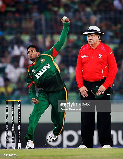 Captain Shakib Al Hasan of Bangladesh bowls during the opening game of the ICC Cricket World Cup between Bangladesh and India at the ShereeBangla...