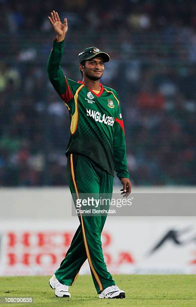 Captain Shakib Al Hasan of Bangladesh sets the field during the opening game of the ICC Cricket World Cup between Bangladesh and India at the...