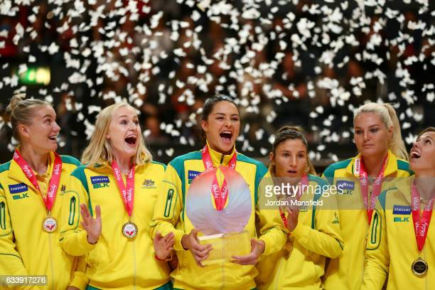 Captain Sharni Leyton lifts the trophy with the Australia team after winning the Quad Series netball match between the England Roses and the...