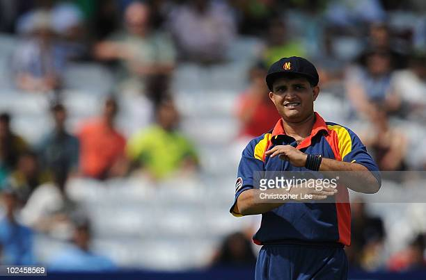 Captain Sourav Ganguly of MCC organises his field during the T20 International Friendly match between MCC and Pakistan at Lords on June 27 2010 in...