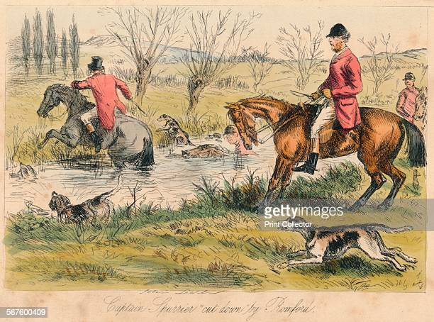 'Captain Spurrier cut down by Romford' 1865 From Mr Facey Romford's Hounds written by Robert Smith Surtees illustrated by John Leech and HK Phiz...