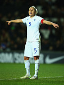 Captain Steph Houghton of England gives instructions during the Women's Friendly International match between England and USA at Stadium mk on...