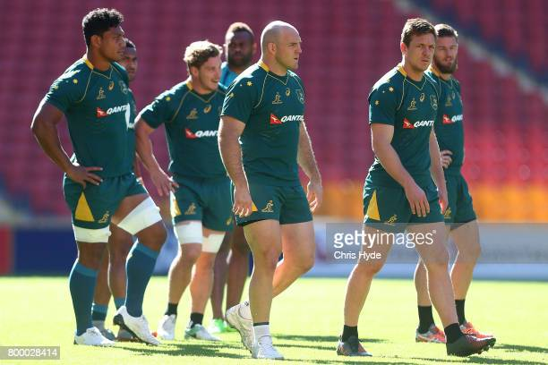Captain Stephen Moore leads the team during the Australian Wallabies Captain's Run at Suncorp Stadium on June 23 2017 in Brisbane Australia