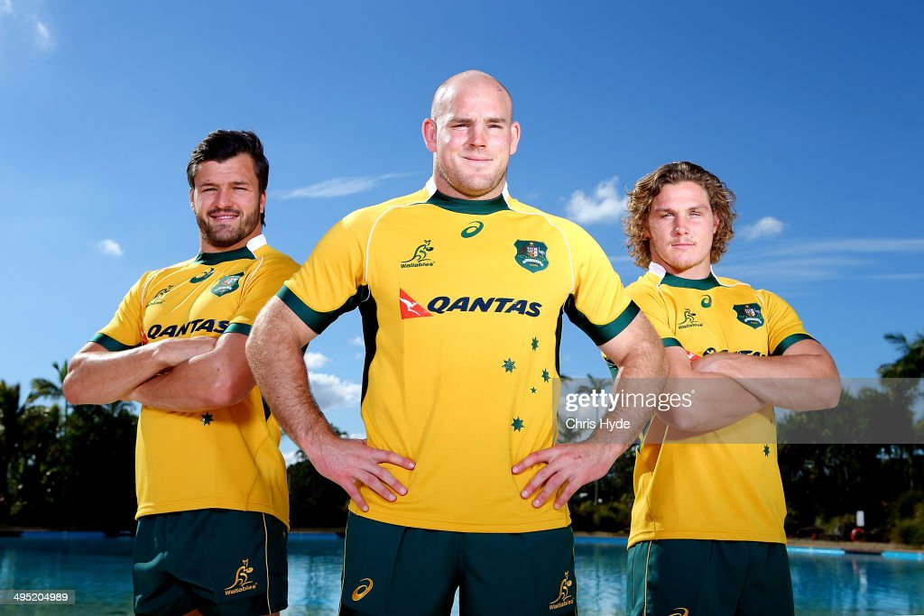 Captain Stephen Moore poses with vice captains <a gi-track='captionPersonalityLinkClicked' href=/galleries/search?phrase=Adam+Ashley-Cooper&family=editorial&specificpeople=637621 ng-click='$event.stopPropagation()'>Adam Ashley-Cooper</a> (L) and <a gi-track='captionPersonalityLinkClicked' href=/galleries/search?phrase=Michael+Hooper&family=editorial&specificpeople=676799 ng-click='$event.stopPropagation()'>Michael Hooper</a> (R) during the Australian Wallabies captaincy announcement at Sanctuary Cove on June 2, 2014 in Gold Coast, Australia.
