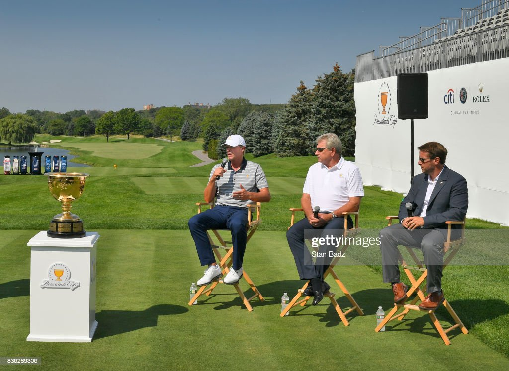 Captain Steve Stricker of the United States Presidents Cup Team, with Captain Nick Price of the Presidents Cup International Team and Presidents Cup Executive Director Matt Kamienski reply to questions during the Presidents Cup media day at Liberty National Golf Club, host course of the 2017 Presidents Cup in Jersey City, New Jersey on August 21, 2017.