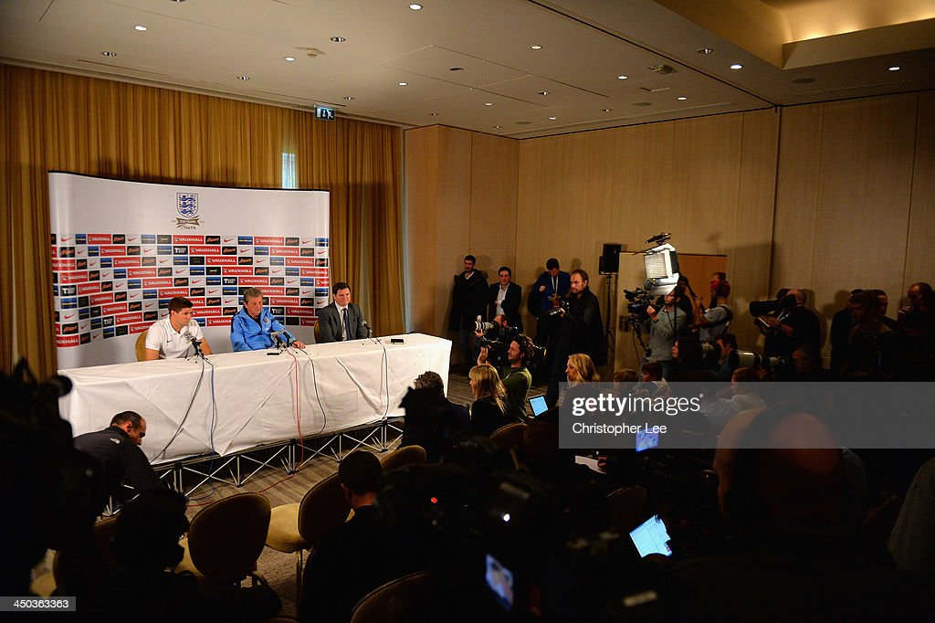 Captain Steven Gerrard and coach Roy Hodgson talk to the media during England Press Conference at London Colney on November 18, 2013 in St Albans, England.