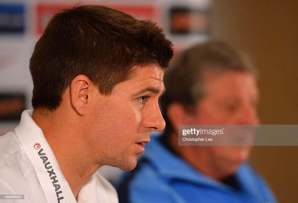 Captain Steven Gerrard and manager Roy Hodgson attend the England Press Conference at London Colney on November 18, 2013 in St Albans, England.