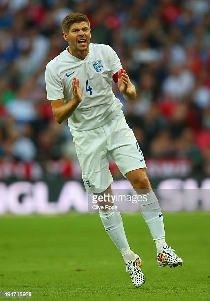 Captain Steven Gerrard of England reacts during the international friendly match between England and Peru at Wembley Stadium on May 30 2014 in London...
