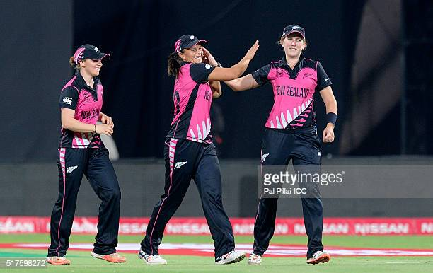 Captain Suzie Bates of New Zealand celebrates the wicket of Trisha Chetty of South Africa during Women's ICC World Twenty20 India 2016 match between...