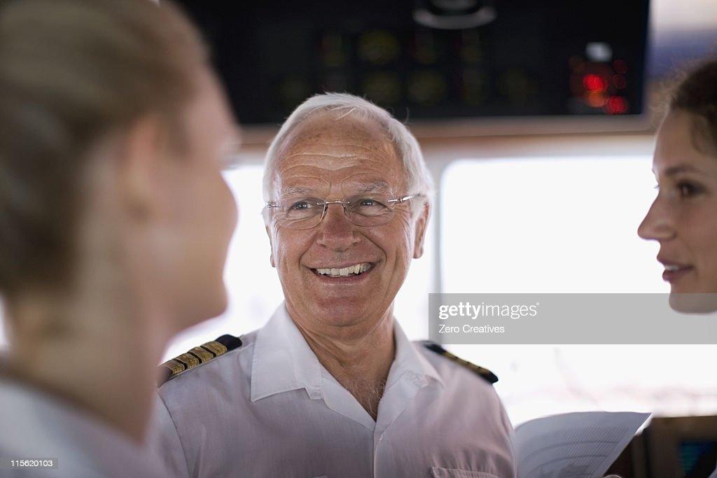 Captain talking to mates