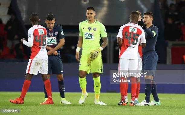 Captain Thiago Silva of Paris SaintGermain celebrates the victory and react with players of AS Monaco after the French Cup SemiFinal match between...