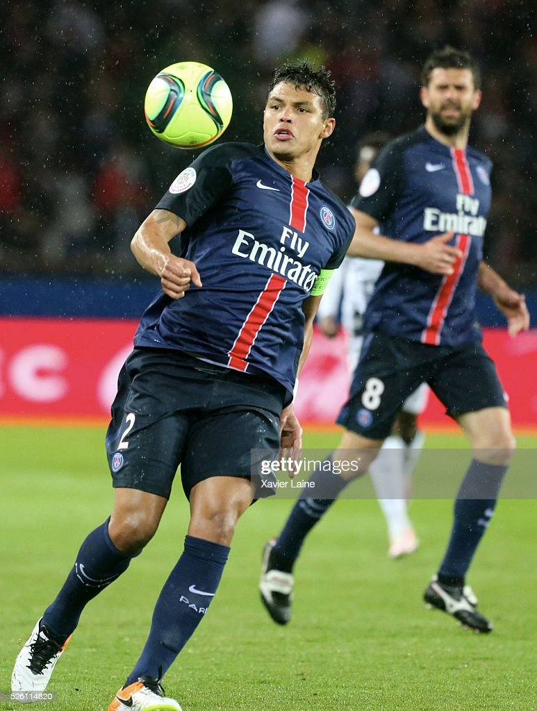 Captain <a gi-track='captionPersonalityLinkClicked' href=/galleries/search?phrase=Thiago+Silva+-+Soccer+Player+-+Born+1984&family=editorial&specificpeople=11499440 ng-click='$event.stopPropagation()'>Thiago Silva</a> of Paris Saint-Germain in action during the French Ligue 1 match between Paris Saint-Germain and Stade Rennais at Parc des Princes on april 29, 2016 in Paris, France.