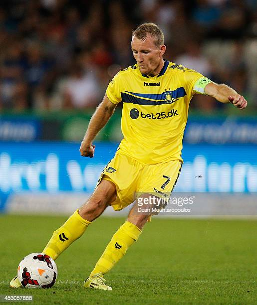 Captain Thomas Kahlenberg of Brondby shoots on goal during the UEFA Europa League 3rd qualifying round first leg match between Club Brugge KV and...