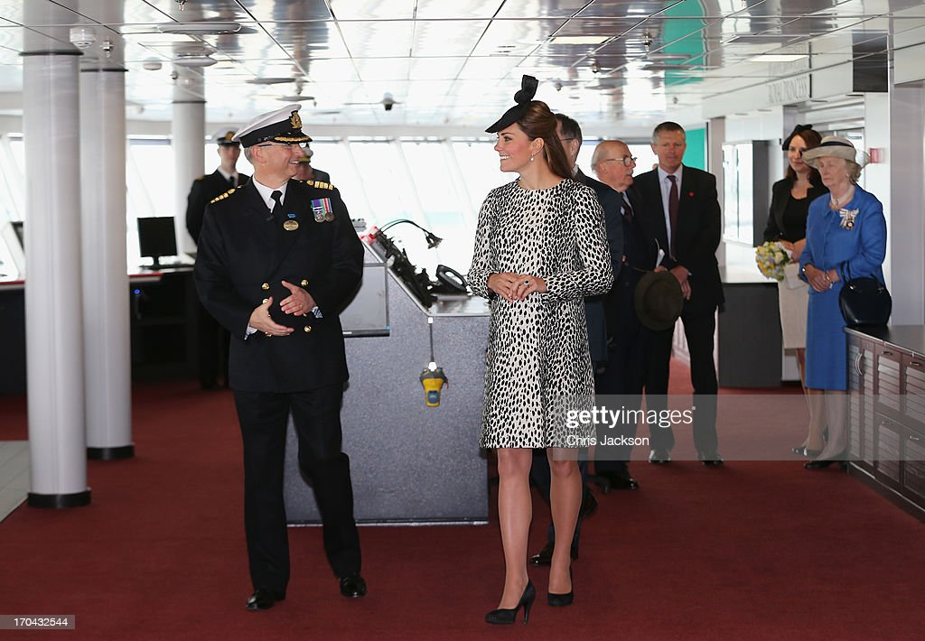 Captain Tony Draper gives <a gi-track='captionPersonalityLinkClicked' href=/galleries/search?phrase=Catherine+-+Duchess+of+Cambridge&family=editorial&specificpeople=542588 ng-click='$event.stopPropagation()'>Catherine</a>, Duchess of Cambridge a tour on board the Princess Cruises ship during its naming ceremony at Ocean Terminal on June 13, 2013 in Southampton, England.