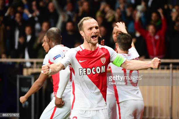 Captain Valere Germain of Monaco celebrates after Fabinho of Monaco puts their side 20 ahead during the Uefa Champions League match between As Monaco...