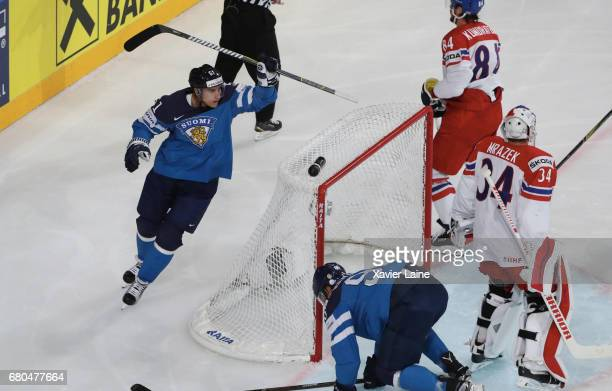 Captain Valtteri Filppula of Finland celebrate his goal during the 2017 IIHF Ice Hockey World Championship game between Finland and Czech Republic at...